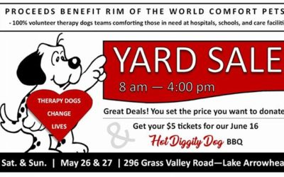 Three events:  Yard sale on Memorial Day weekend, Yappy Hour May 29, and our hot…
