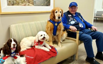 At the VA today with Chelsea, Lucky, and Grace. Great day for a visit with veter…